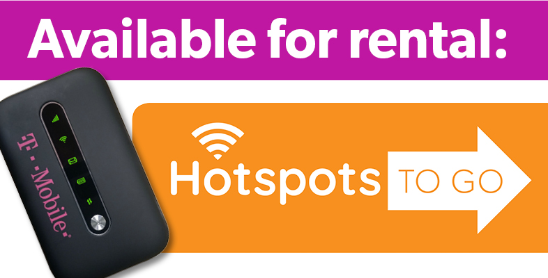 "Text reads ""Available for rental: Hotspots to Go"" with an image of a T-Mobile hotspot device"