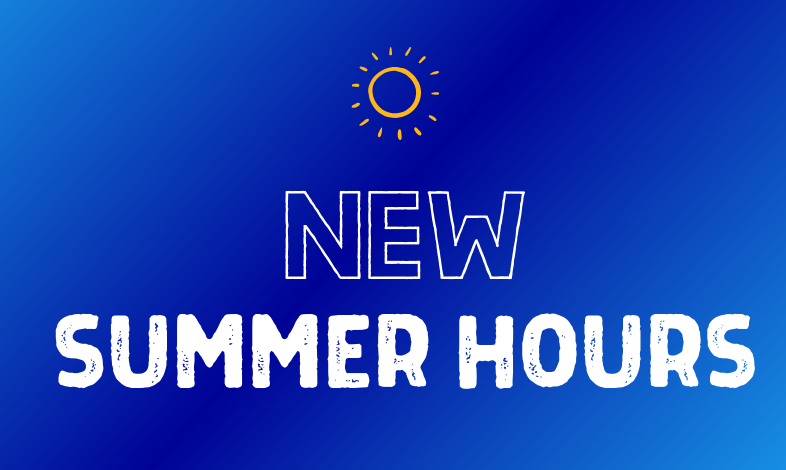 "blue background with ""New Summer Hours"""