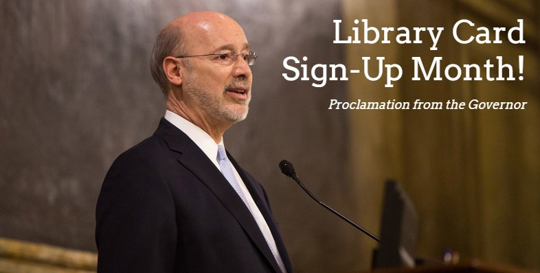 library card sign up month blog image featuring governor tom wolf