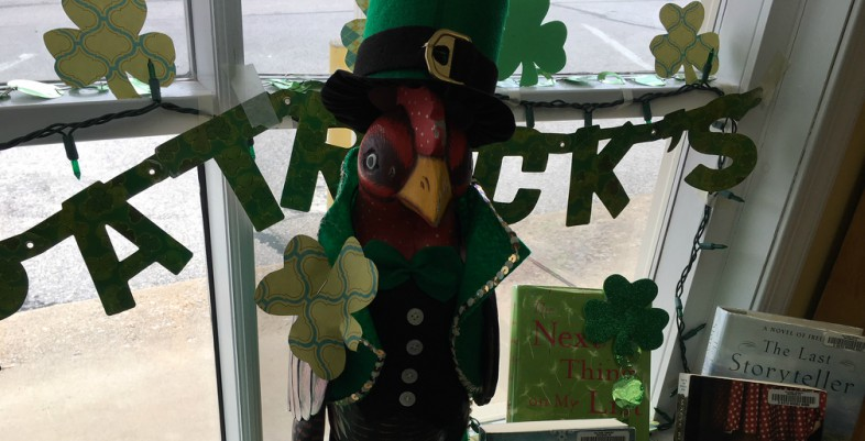 Rooster dressed for St. Patrick's Day