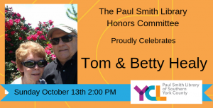 Paul Smith Library 2019 Honorees Tom and Betty Healy announcement