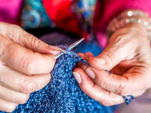 Womens hands knitting
