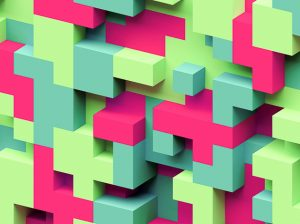 3d render, abstract geometric background, colorful constructor,