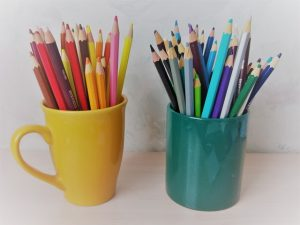 Colored pencils in Coffee mug
