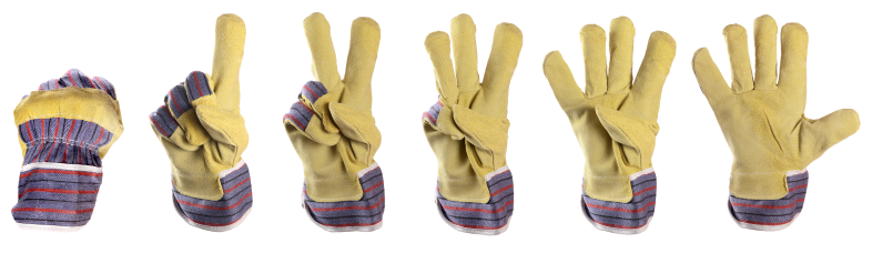 Work gloves counting from 0 to 5