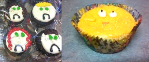 Two pictures of badly decorated cupcakes. Four look sad. One cupcake looks scared. They all have faces.