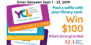 "YCL Library cards next to text ""Post a selfie with your library card, enter to WIN $100 from ALA"""